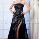 modest black satin strapless column floor length evening dress with split skirt IMG-0041