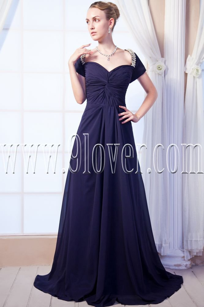 glamour dark navy chiffon off the shoulder neckline a-line floor length evening dress IMG-0074