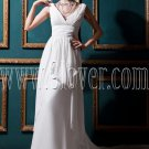 elegance white chiffon v-neckline a-line floor length beach wedding dress IMG-0365