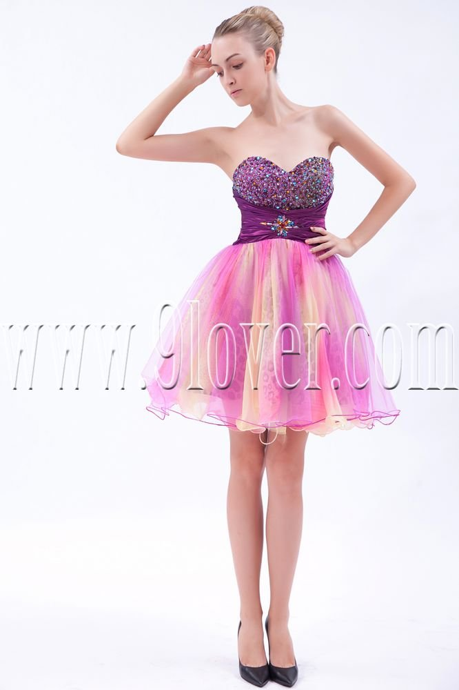 modern pink tulle sweetheart a-line mini length cocktail dress IMG-9523