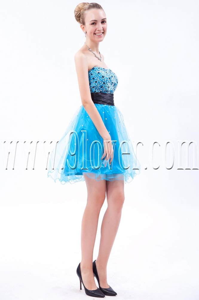 stunning sky blue tulle sweetheart a-line mini length cocktail dress IMG-9568