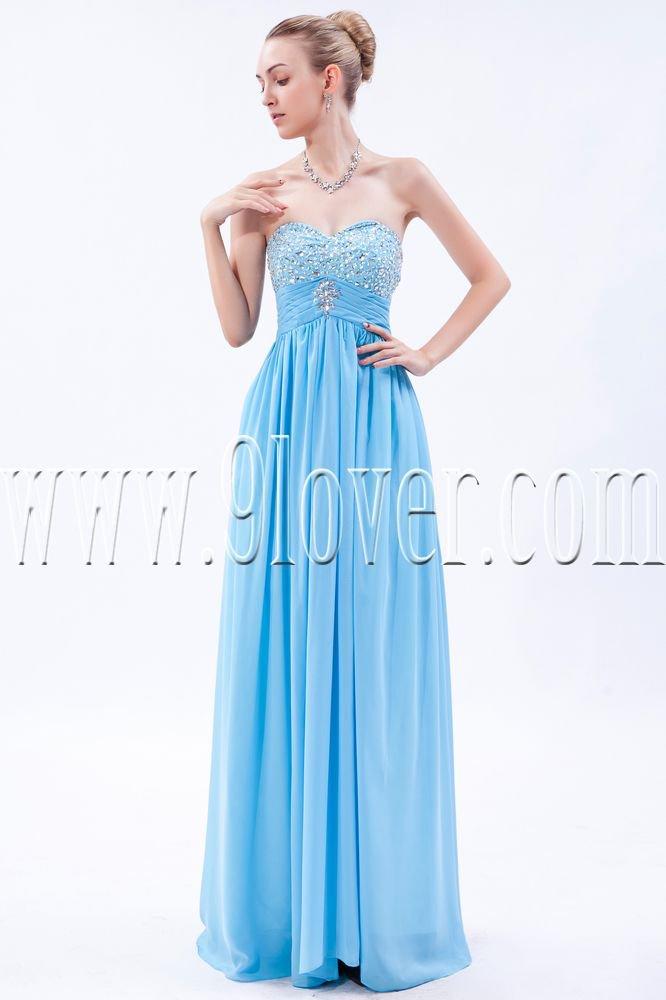 stunning sky blue chiffon sweetheart a-line floor length prom dress IMG-9683