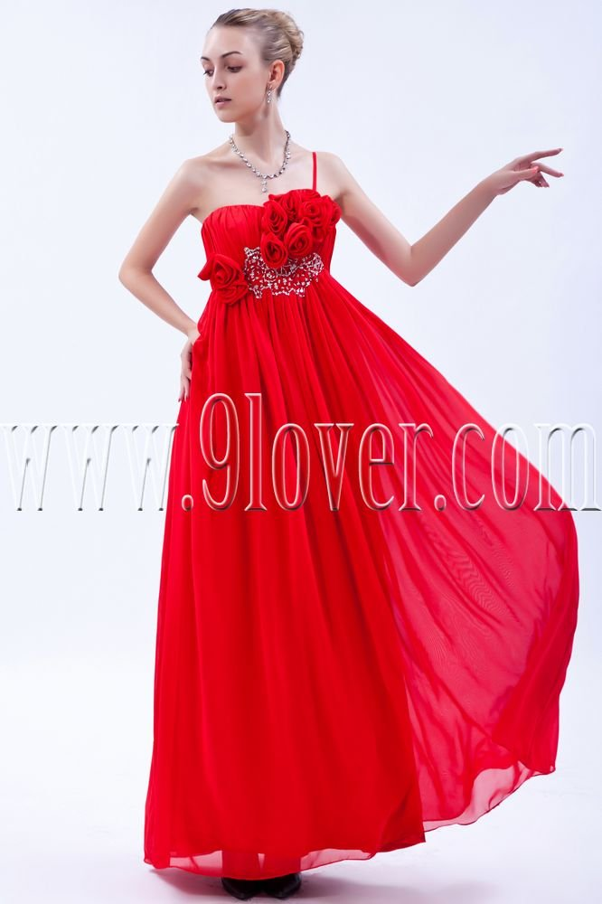 attractive red chiffon one shoulder empire floor length formal evening dress IMG-9840