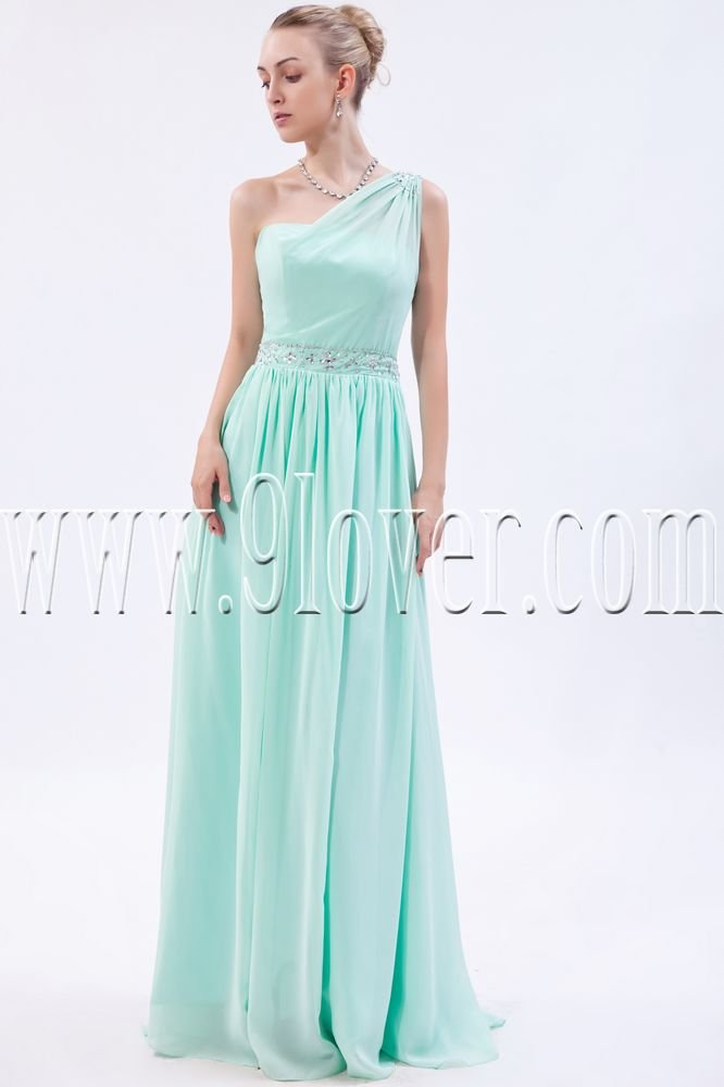 stunning mint chiffon one shoulder a-line floor length bridesmaid dress IMG-9882