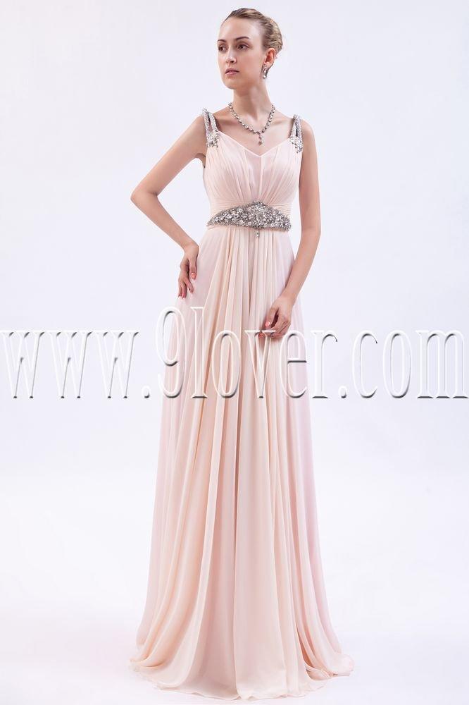 stunning pink chiffon v-neckline a-line floor length formal evening dress IMG-9896