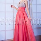 new faddish water melon chiffon straps a-line floor length prom dress IMG-9943