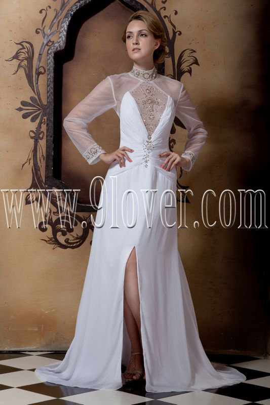 stunning high neckline sheer sleeves a-line floor length beach wedding dress IMG-1700