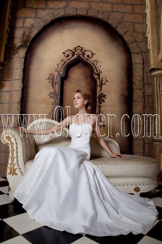 exclusive white chiffon spaghetti straps a-line floor length wedding dress IMG-1741
