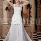 modest white chiffon straps a-line floor length beach wedding dress IMG-1757
