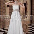 a-line floor length white chiffon strapless wedding dress IMG-1787