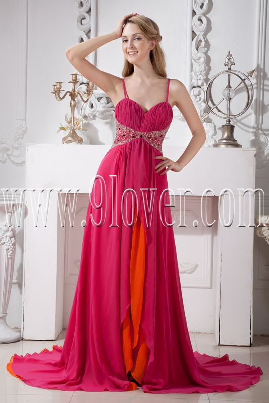 stunning fuchsia chiffon spaghetti straps a-line floor length formal evening dress IMG-1871
