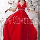 red a-line floor length v-neckline chiffon formal evening dress IMG-1891