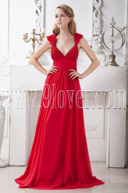 low-cut v-neckline red chiffon empire floor length maternity prom dress IMG-1911