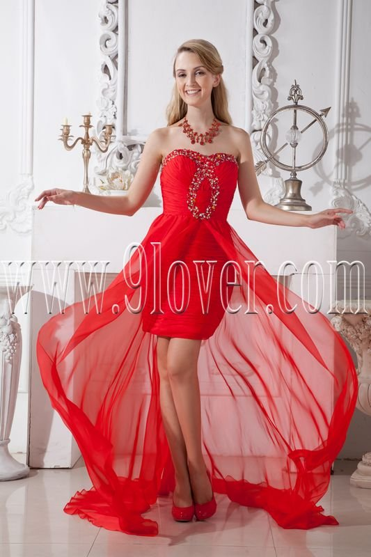 red chiffon sweetheart a-line mini length cocktail dress with brush train IMG-2037