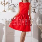 jewel neckline red satin sleeveless a-line knee length homecoming dress IMG-2053