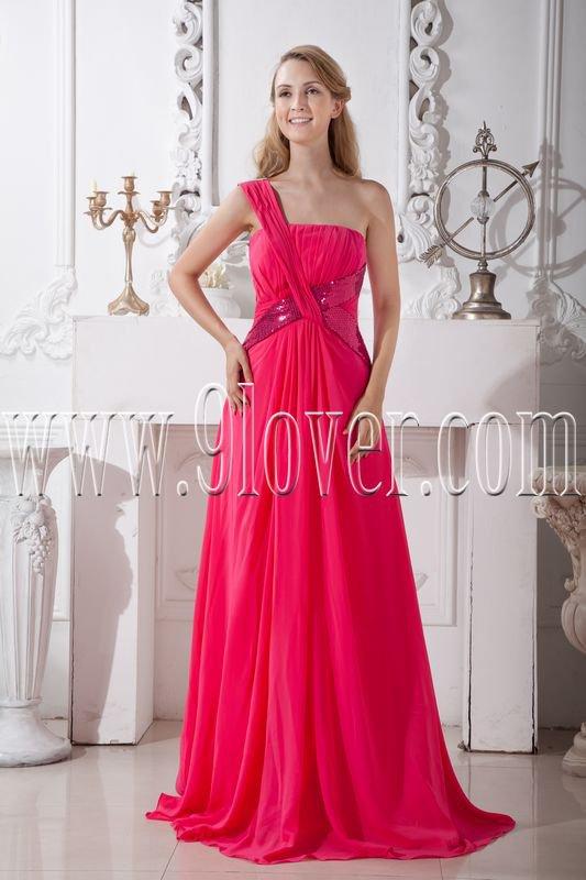 a-line floor length fuchsia chiffon one shoulder formal evening dress IMG-2079