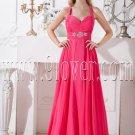 fuchsia chiffon halter neckline a-line floor length prom dress IMG-2121