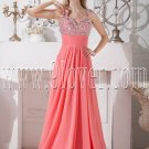 water melon chiffon spaghetti straps a-line floor length prom dress with beaded bodice IMG-2135