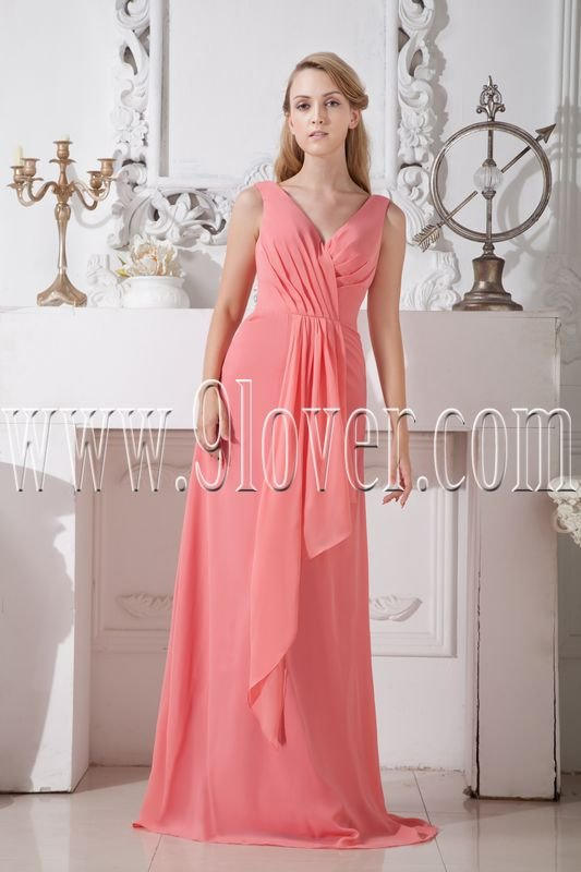 v-neckline water melon chiffon a-line floor length sleeveless bridesmaid dress IMG-2147