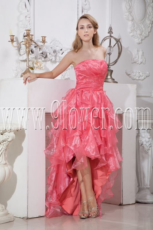 hot pink organza strapless a-line floor length prom dress with ruffles skirt IMG-2166