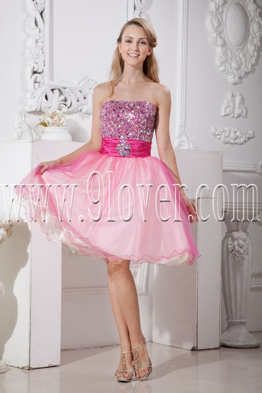 cute pink tulle strapless a-line knee length cocktail dress IMG-2182
