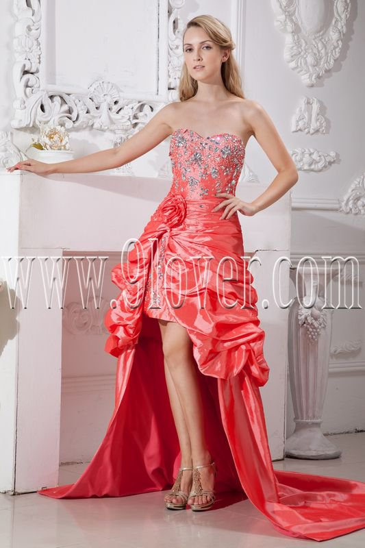 modern orange red taffeta sweetheart a-line mini length prom dress with brush train IMG-2228