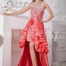 modern orange red taffeta sweetheart a-line mini length prom dress with brush train IMG-2228