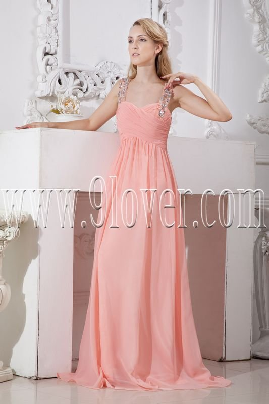 stunning pink chiffon column floor length straps neckline formal evening dress IMG-2245