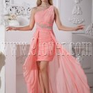 modern pink chiffon one shoulder a-line mini length cocktail dress IMG-2259