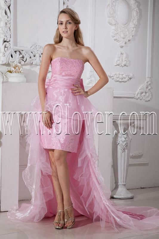 pink organza strapless neckline a-line knee length cocktail dress with chapel train IMG- 2284