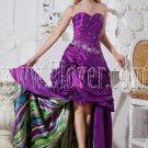purple taffeta sweetheart neckline ball gown mini length prom dress with big train IMG-2333