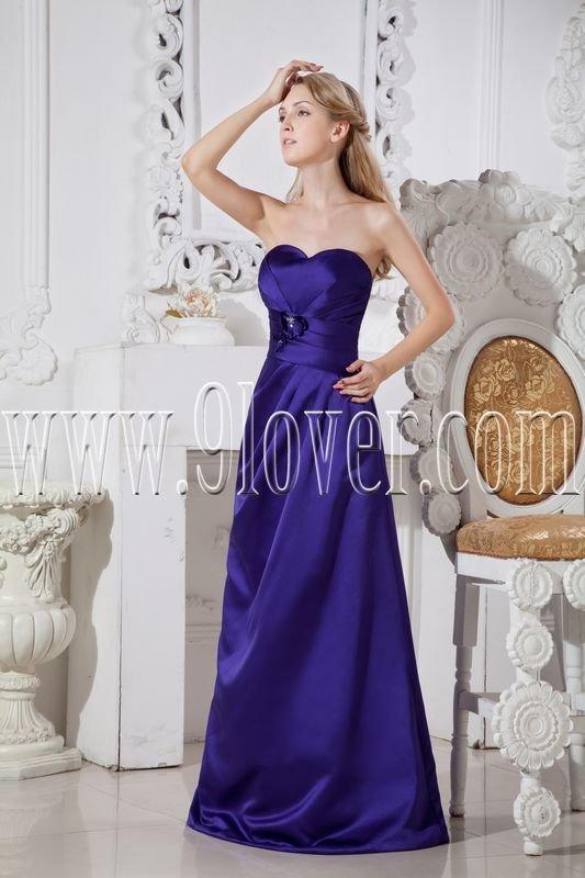royal blue satin shallow sweetheart neckline a-line floor length evening dress IMG-2353