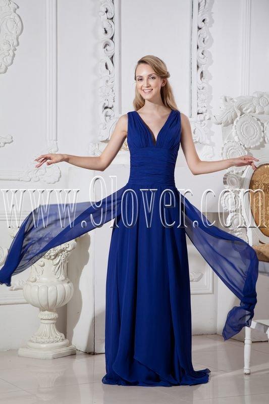 deep v-neckline dark royal blue chiffon a-line floor length prom dress IMG-2362
