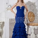 royal blue chiffon strapless neckline a-line floor length prom dress IMG-2377