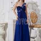 royal blue chiffon one shoulder empire floor length maternity evening dress IMG-2394