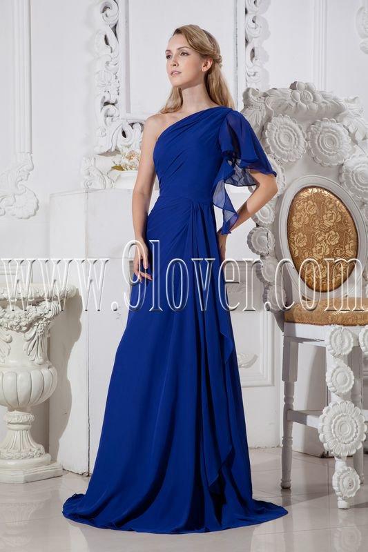 royal blue chiffon one shoulder a-line floor length formal evening dress IMG-2411