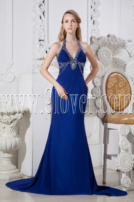 halter neckline royal blue chiffon a-line floor length formal evening dress IMG-2420
