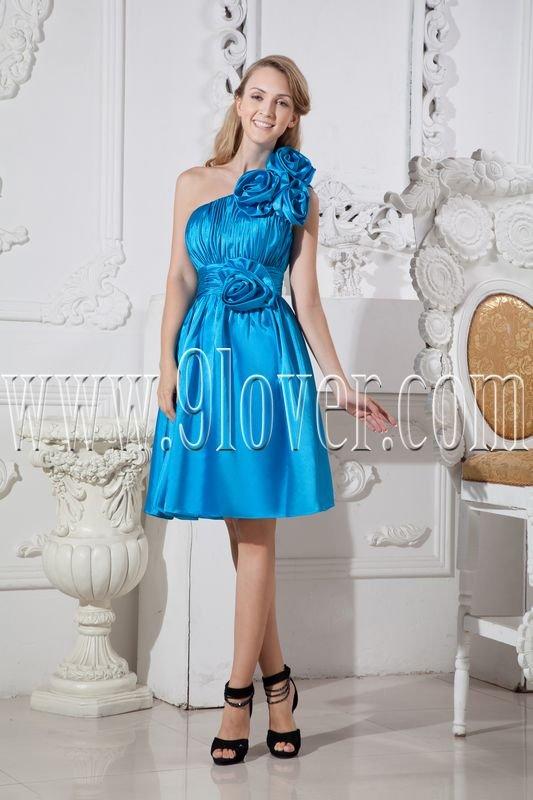 one shoulder sky blue a-line knee length bridesmaid dress IMG-2435