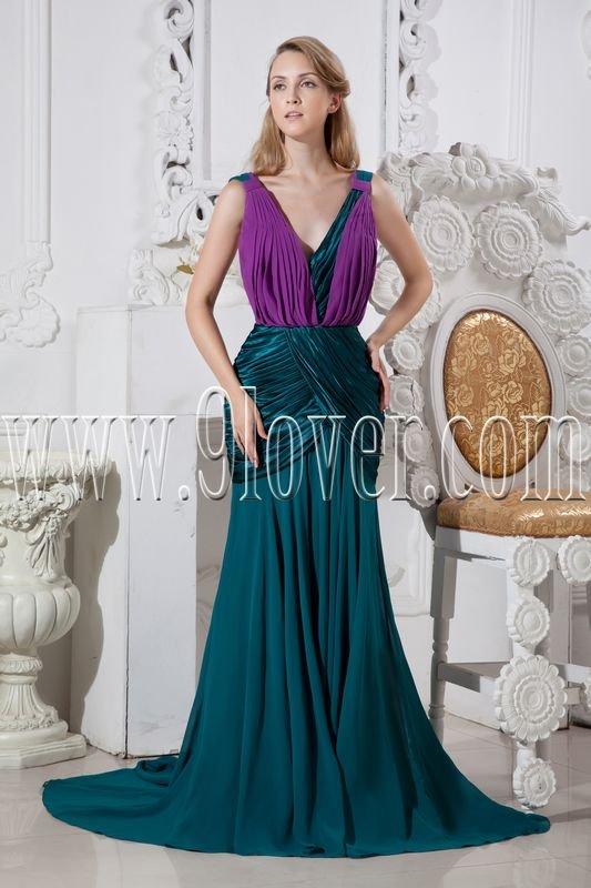 green and regency chiffon deep v-neckline a-line floor length formal evening dress IMG-2449