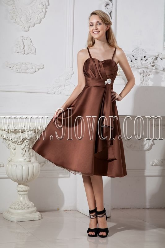 modest brown satin spaghetti straps a-line tea length wedding guest dress IMG-2462