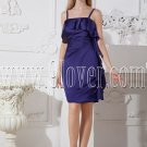 spaghetti straps purple satin a-line mini length cocktail dress IMG-2474