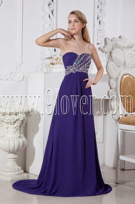 blue chiffon sweetheart neckline a-line floor length formal evening dress IMG-2487