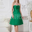 green satin sweetheart neckline a-line knee length wedding guest dress IMG-2501