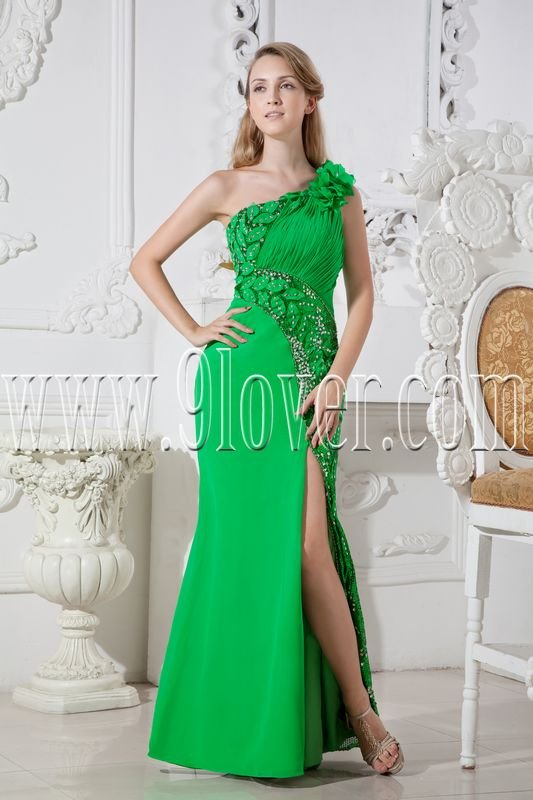 bud green chiffon column floor length one shoulder informal evening dress with split skirt IMG-2514
