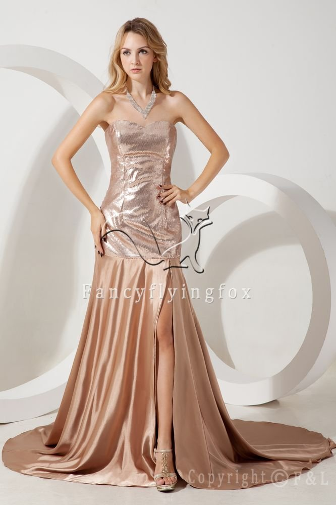champagne satin shallow sweetheart neckline a-line floor length prom dress with split skirt IMG-1615