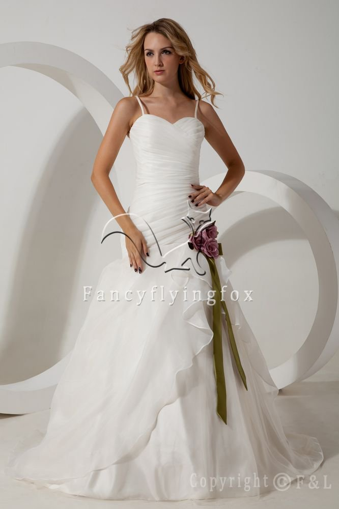 white organza spaghetti straps ball gown floor length wedding dress with ruched bodice IMG-1669