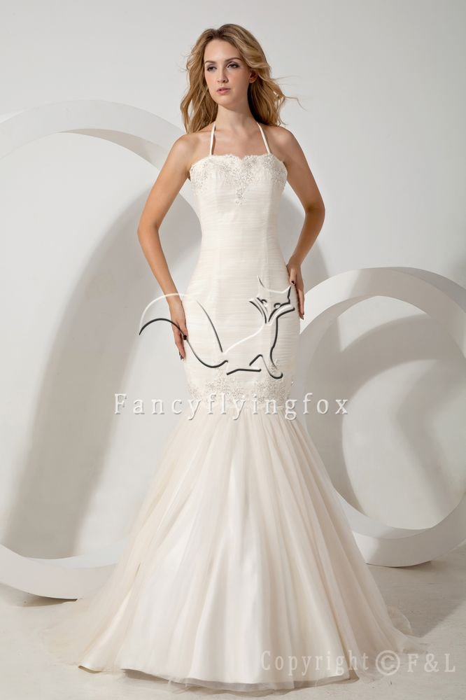 vintage halter neckline white tulle trumpet mermaid wedding dress IMG-1733