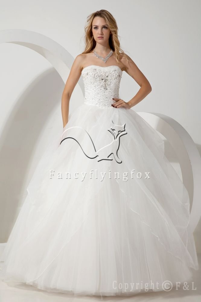 classic white tulle shallow sweetheart neckline floor length ball gown wedding dress IMG-1747