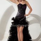 black tulle spaghetti straps sheath mini length cocktail dress with brush train IMG-1810