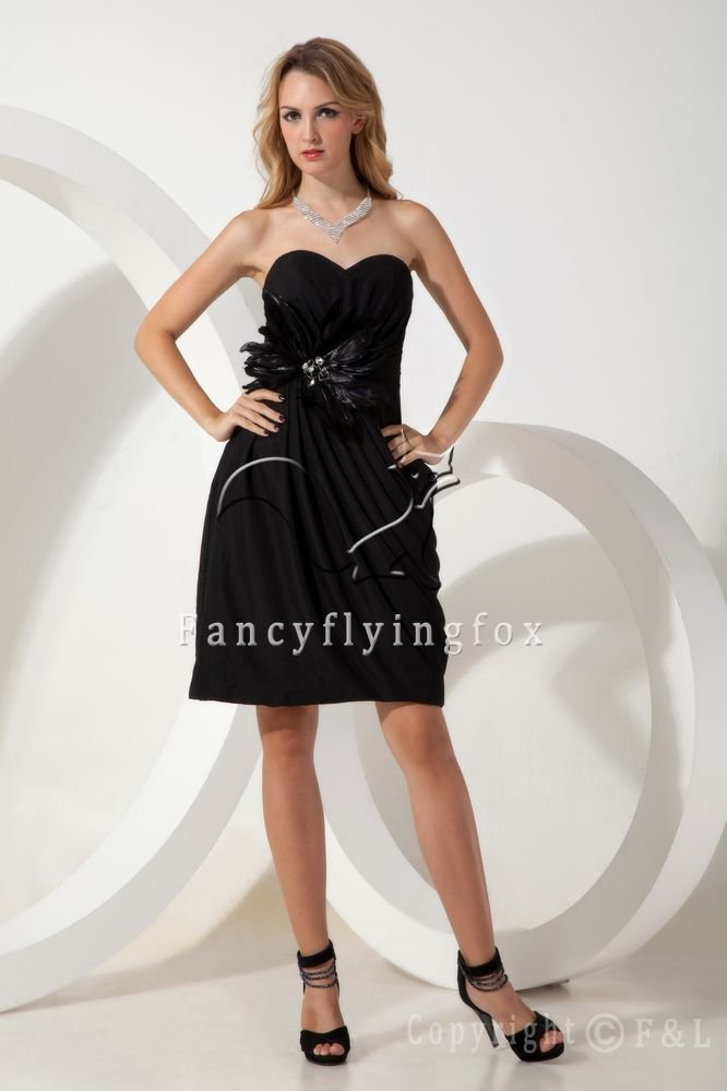 a-line mini length black satin sweetheart a-line mini length homecoming dress IMG-1843